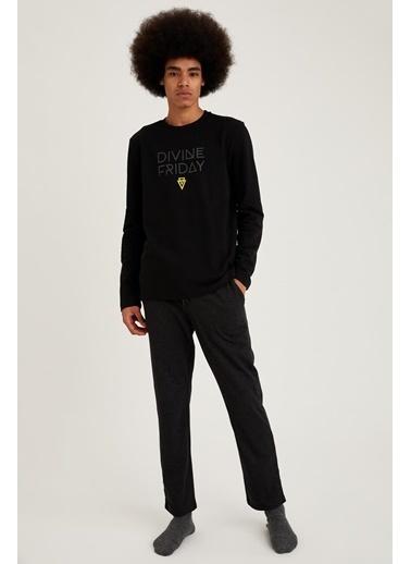 Defacto –Fit Baskılı Regular Fit Pijama Takım Siyah